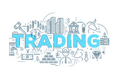 Trading Linear Design. With blue typographic title stocks and gold bears and bulls oil vector illustration Royalty Free Stock Photos
