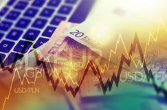 Trading Markets. Forex Currency Trading Concept with Computer, Cash Euro Money and Some Line Graph Statistics Royalty Free Stock Photo
