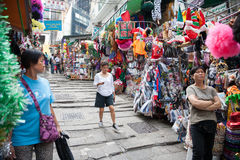 Trading pedestrian street in Hong Kong Royalty Free Stock Images