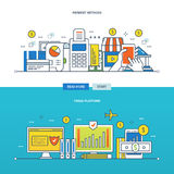 Trading platform, methods of payment for goods and services. Concept of financial trading platform, and payment methods. Color Line icons collection. Vector Stock Image