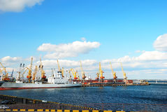 Trading port with cranes Royalty Free Stock Images