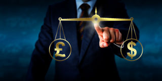 Trading The Pound Sterling At Par With The Dollar. Investor trading the British pound sterling at par with the US Dollar. A golden pair of balances are keeping Stock Photo