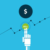 Trading robot hand sells dollar. Vector illustration Stock Images