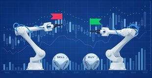 Trading Robots On Stock Market. Illustration / 3d rendering graphic composition on the subject of `Financial Technologies / Stock Exchange Stock Photos