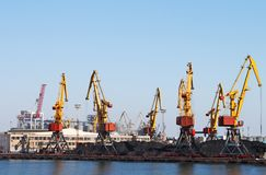 Trading seaport with cranes stock image