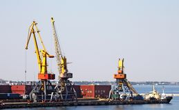 Trading seaport with cranes Royalty Free Stock Photo