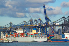 Trading seaport with cranes, cargoes and the ship Royalty Free Stock Photos