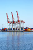 Trading seaport with cranes, Odessa, Ukraine Royalty Free Stock Images