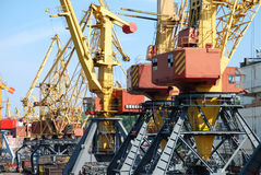 The trading seaport with cranes and ships Stock Photo