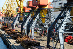 The trading seaport with cranes and ships Royalty Free Stock Photography
