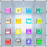 Trading showcase and icons. Royalty Free Stock Photography