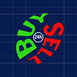 Trading on the stock exchange. Sell and buy. Text. Logo. Stock Photos