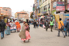 Trading street in El Alto, La Paz, Altiplano in Bolivia Stock Photos