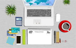 Trading. Workspace concept. Flat illustration. Business office Stock Images