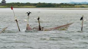 Tradinial visserij en aalscholvers royalty-vrije stock afbeeldingen
