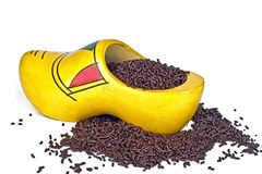 Tradional dutch clog with chocolate sprinkles Royalty Free Stock Image