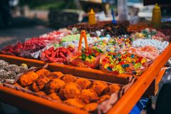 Tradional mexican candy being sold on the street royalty free stock photography