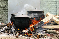 Tradional south african cooking. Traditional cooking pots on outdoor fire in south africa Stock Photography