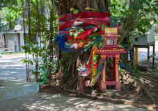 Tradional Thai Spirit house at tree Royalty Free Stock Image