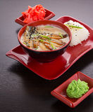 Tradisional japanese soup with eel fish Stock Images
