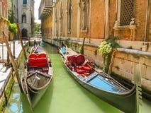 Traditie Venetiaanse gondels, Venetië, Italië Stock Foto's