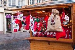 traditinal装饰圣诞节市场 图库摄影