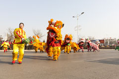 Traditioal Chinese lion dancing Royalty Free Stock Photography