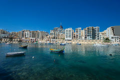 Traditioanl fishermen boat in bay at Malta Stock Image