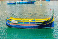 Traditioanl fishermen boat in Spinola bay at Malta Royalty Free Stock Image