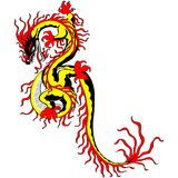 Tradition Asian chinese golden dragon fire Stock Photos