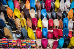 Tradition brightly coloured Moroccan slippers Royalty Free Stock Photos
