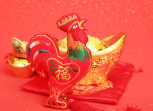 Tradition Chinese knot: Cloth doll Rooster Stock Photos