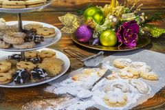 Tradition christmas cookies on table with sugar. Tradition christmas cookies on table with sugar Royalty Free Stock Photo