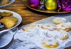 Tradition christmas cookies on table with sugar. Tradition christmas cookies on table with sugar Stock Photography