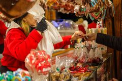 Tradition Christmas Market Weihnachtsmarkt. BERLIN - NOVEMBER 12, 2017: Tradition Christmas Market Weihnachtsmarkt on Potsdamer Platz. Sale of various Stock Photo