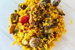 Tradition de l'Europe de détail de Paella d'escargots image libre de droits