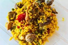 Tradition de l'Europe de détail de Paella d'escargots photos stock