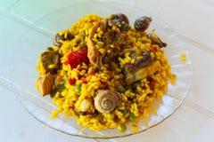 Tradition de l'Europe de détail de Paella d'escargots photographie stock libre de droits