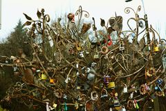 Metal tree of fate and happiness. Tradition of happiness in marriage. Metal model of traditions Royalty Free Stock Images