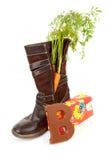 Tradition hollandaise : chaussure avec le raccord en caoutchouc et le présent images libres de droits