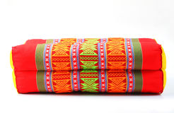 Tradition native Thai style rectangle pillow isolated Royalty Free Stock Photos