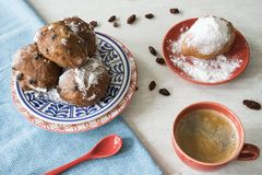 Olliebollen, fritter or oil Dumplings. Traditional Dutch food on New Year`s eve. stock photography