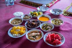 Tradition Northern Thai food. on a wooden table, Set of Thai food popular menu. Radition lunch or dinner.Thai food concept Spicy Paste Dip Nam Prik Asian style stock image