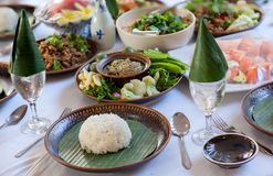 Tradition Northern Thai food. on a wooden table, Set of Thai food popular menu. Radition lunch or dinner stock photo