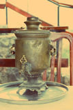 Tradition. Old samovar - a traditional tea time Stock Images