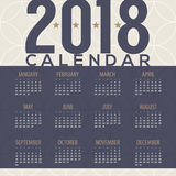 2018 Tradition Pattern Printable Calendar Starts Sunday Stock Photo
