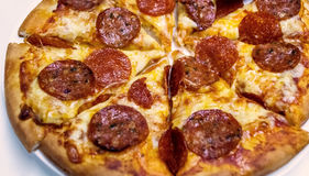 Tradition pepperoni  pizza with salami Stock Image