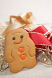 Tradition smiling gingerbread men. With ribbon decorations, shallow DOF Stock Images