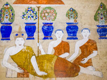 Tradition Thai Painting on the wall of the church in the temple. Royalty Free Stock Images