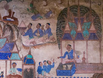 Tradition Thai Painting on the wall of the church in the temple. Royalty Free Stock Photos